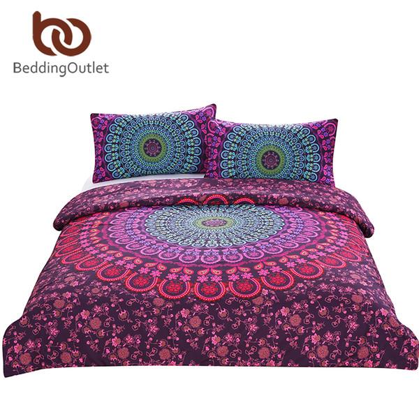 Wholesale-BeddingOutlet Mandala Bedding Set Queen Bohemian Printed Soft Bedclothes Twill Elephant Duvet Cover with Pillowcase 3pcs