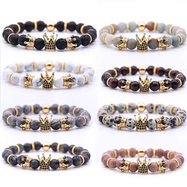 Natural Volcanic Rock Handmade Beaded Bracelet Inlaid Zircon Crown Fashion Charm Bracelet Multicolor Support FBA Drop Shipping H800F
