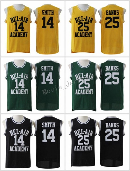 The Fresh Prince di Bel-Air Stitched # 14 Will Smith Jersey Bel-Air Academy Versione Movie Jersey # 25 Carlton Banks Maglie Nero Verde Giallo