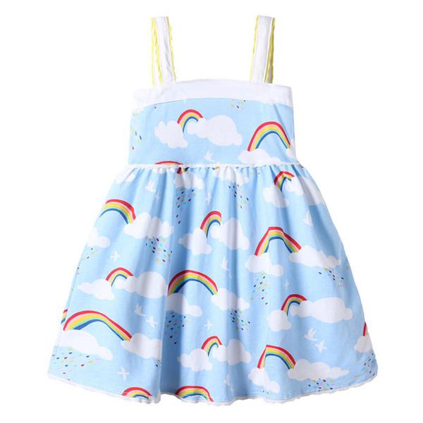 Girls Rainbow Vest Dress Cloud Sky Printed Lace Edge Design Suspender Skirt Soft Breathable Cool Cotton Fabric Summer Dresses 2-7T