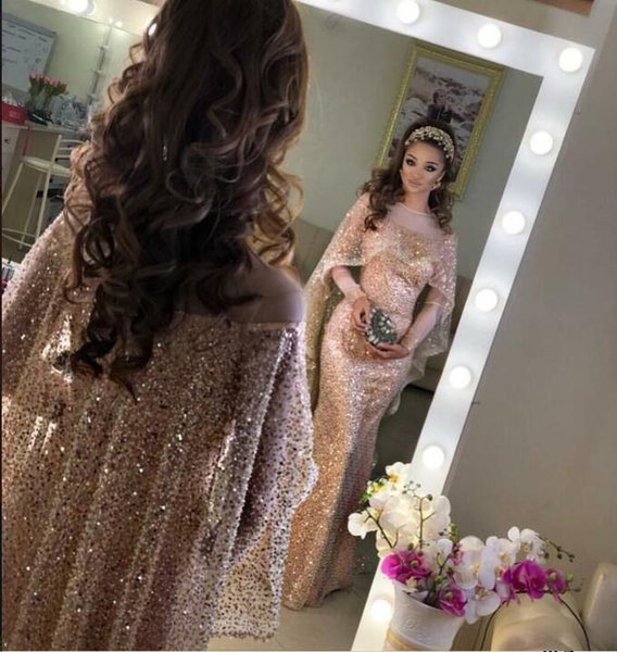 Evening Dress Long Dress Long Sleeve Beaded Crystal Jewel Tulle with Cope Pink Mermaid Beautiful Modern Classic Fashionable