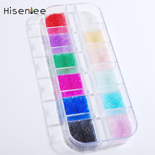 Micro Bead Rhinestone 12 Grid Crystal Pixie Caviar Beads Nail Art Decorations Tiny 3D Colorful Glitter Nail Art Decorations Tool