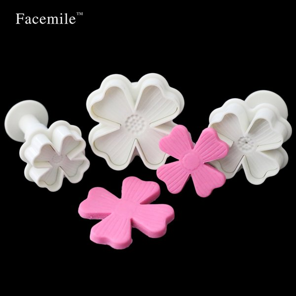 Wholesale- Facemile 3pcs/set Four Love Cake turn sugar spring mould cookie cutter mold hydrangea baked mold 01097