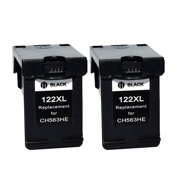 2PK 122 XL Black Ink Cartridges for HP 2510 3000 3050 3052 3054 1010 1510 2540