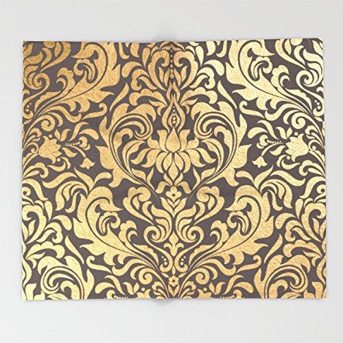Gold Swirls Damask 9 Throw Blankets 51 X 60 Blanket Hd Designs
