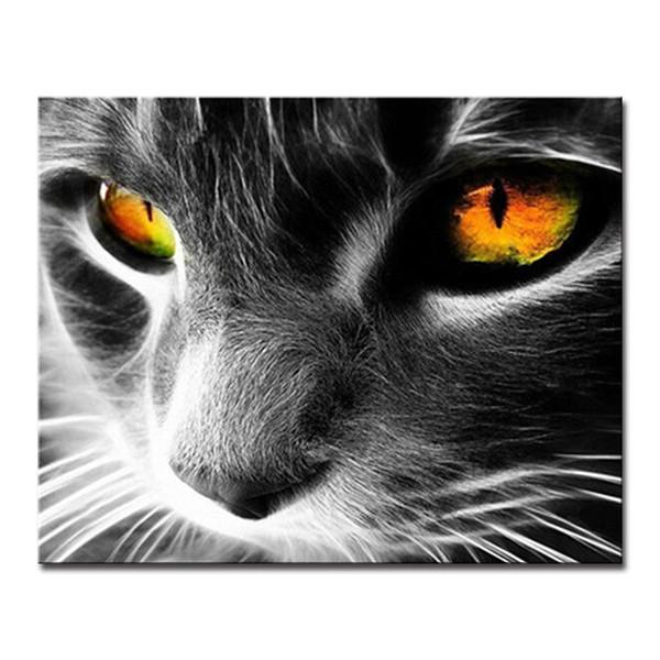 DIY по номерам наборы окраски живопись акриловые прекрасный кот ручная роспись рисунок на холсте мода фотографии домашнего декора стены рамки