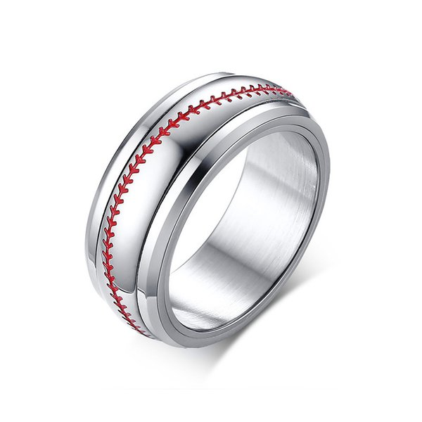 2018 New Design Silver Color Sporty Ring High Polished Spinner Red Arrow Line Rings Casual Jewelry For Men Gift