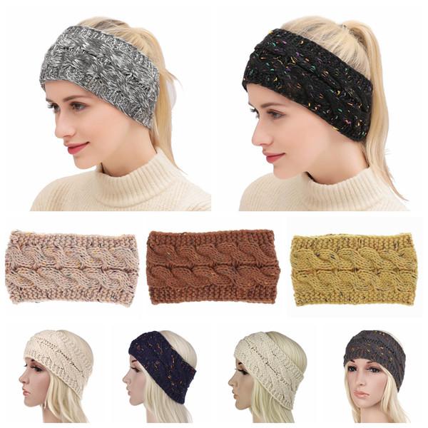 Bandas tejidas de punto 21 colores Crochet Twist Headwear Turban Winter Ear Warmer Headwrap Banda elástica para el cabello Accesorios para el cabello 120 OOA5765