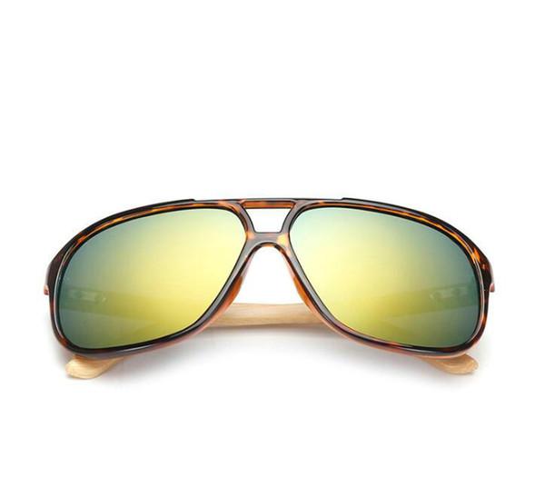New Retro Fashion Men Women Trend Bamboo Sunglasses Summer Beach Holiday Trave Sun Glasses Gold Resin Lenses 7 Color Eyeglasses Cheap