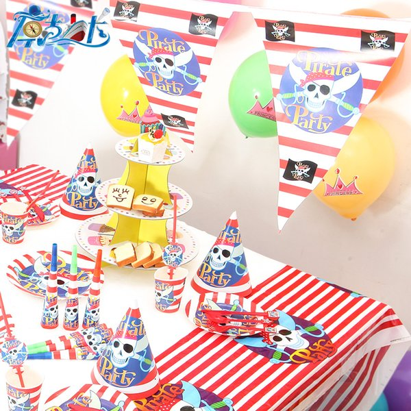 Wirklich hohe Qualität Piraten Partei Dekoration Einheit Artikel alles Gute zum Geburtstag Kinder Baby Mädchen junge Partei Lieferanten