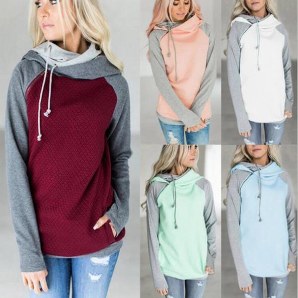 Sudaderas con capucha de las mujeres Sudaderas con capucha del remiendo del otoño Tops calientes Sudadera con capucha de la manga larga de la moda sudaderas con capucha ocasionales del invierno Outwear YFA244