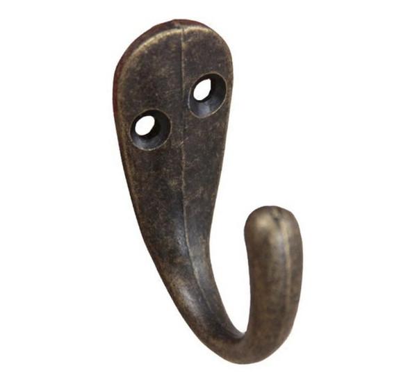 """Wholesale- Single Prong Clothes Coat Robe Purse Hat Hook Hanger Antique Bronze 3.4cm x 1.4cm(1 3/8"""" x 4/8"""") SN1473"""