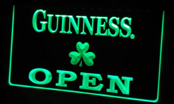 LS452-g Guinness Shamrock OPEN Neon Light Sign Decor Free Shipping Dropshipping Wholesale 8 colors to choose