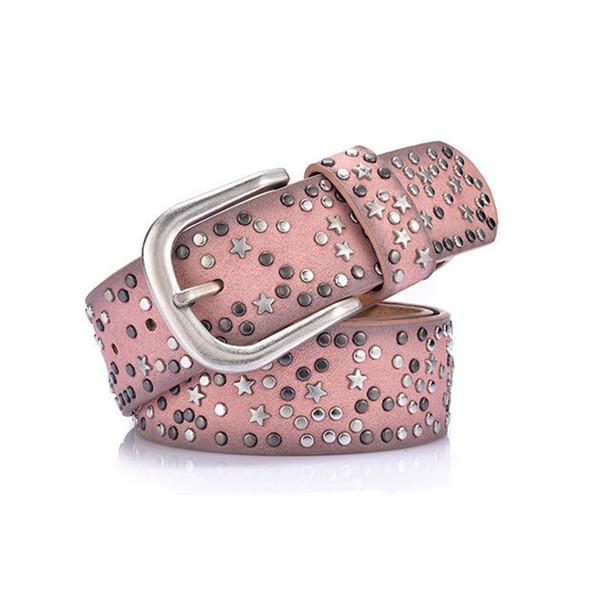 Pink Leather Belt Female Split Leather PU Rivet Inlay Stars Belt For Women Wild Jeans Fashion Buckle Waist Women Belts