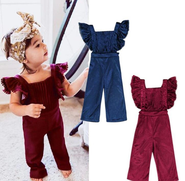 top popular Fashion Kid Baby Girls Clothes Flying Sleeves Ruffles Backless Velvet Overalls Romper Jumpsuit Playsuit BibPants Toddler Outfits Set 2020