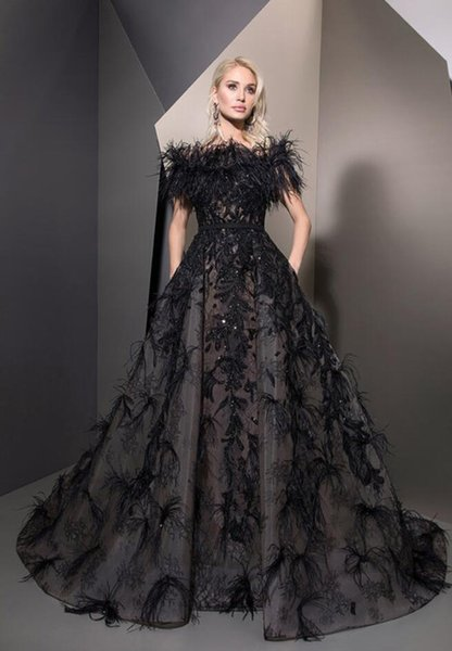 Ziad Nakad Black Prom Dresses A Line Luxury Feathers Off The Shoulder Lace Appliqued Beads Quinceanera Dresses Evening Party Wear Formal