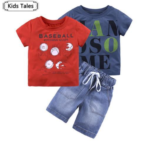 ST364 Summer Boys Clothing Sets Children Clothing Set Kids Boys Clothes with Tops T-shirts + Jeans Pants 3PCS. Suit for Girls