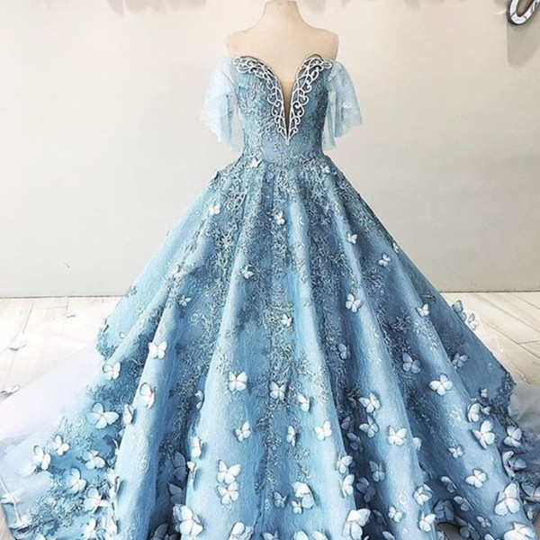 Fascinating Butterfly Lace Evening Dress Gorgeous Off Shoulder Sequins Beads Appliques Ball Gown Prom Dress Amazing Red Carpet Dresses