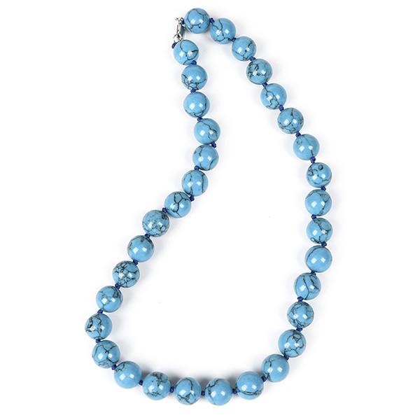 7e2f2db004fe Nuevos collares de turquesa azul cielo fresco y alegre de 12 mm El collar  en el baile