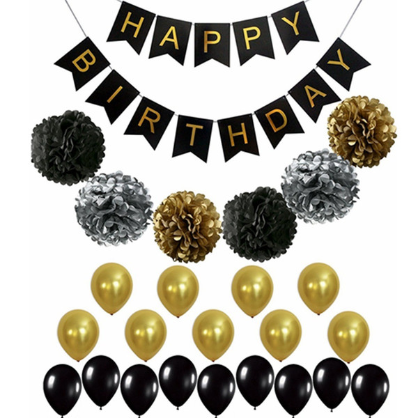 Black Gold Party Decorations Suit Balloon Paper Flower Ball Paper Flag Flags For Birthday Baby Shower DIY 24hn hh