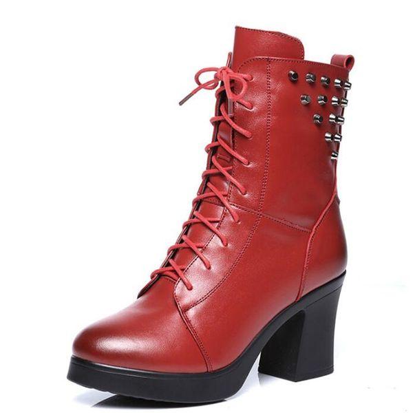 Neueste High Schuhe 2019 Winter Frauen Mode Mit Stiefel Niet Elegante Dick Echtem Großhandel Heels Dekoration Hot Leder Martin xBdroCe