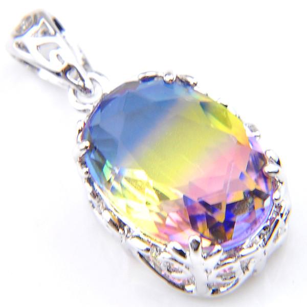 Handmade 12 pcs/lot 925 sterling silver exquisite Vintage Rainbow Bi-Colored Tourmaline Gemstone Silver Necklace Pendants