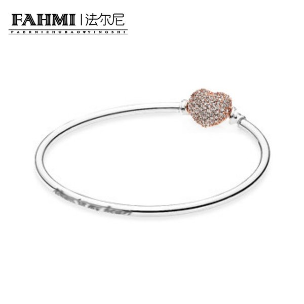 FAHMI 100% 925 Sterling Silver Original 580722CZ Rose Gold Heart-Shaped Classic Gemstone Basic Bracelet Vintage Women