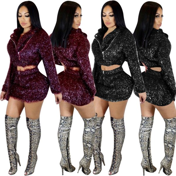 Shinning Sequin Women Outfits Two Pieces Short Coat and Skirts 2019 Spring New Arrival Zipper Cropped Tpp Skirt Night Out Club Dresses Sets