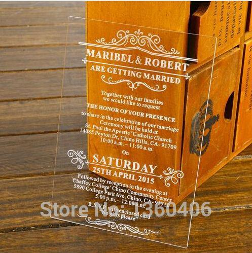 Customize Shape Die Cut Engraving Damask Plexglass Wedding Invitation Cards With Envelope Greeting Cards Create Your Own Invitations Discount Wedding