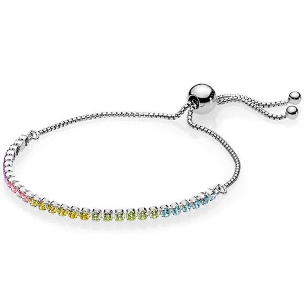 a712c94a2 925 Sterling Silver Anklets Rainbow Tennis Sparkling Strand Adjust Bracelet  Bangle Fit Bead Charm Diy Pandora