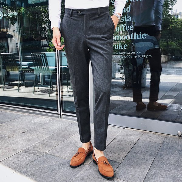 2018 Autumn Winter Korean Men Fashion Business Casual Slim Irregular Stripe Western-style Suit Pants Bound Feet Trousers Homme
