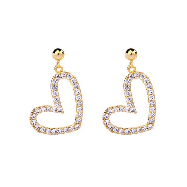 Slanw handmade wholesale 925 sterling silver post pin Creative zircon love earrings simple Korean fashion trendy Joker heart short earrings