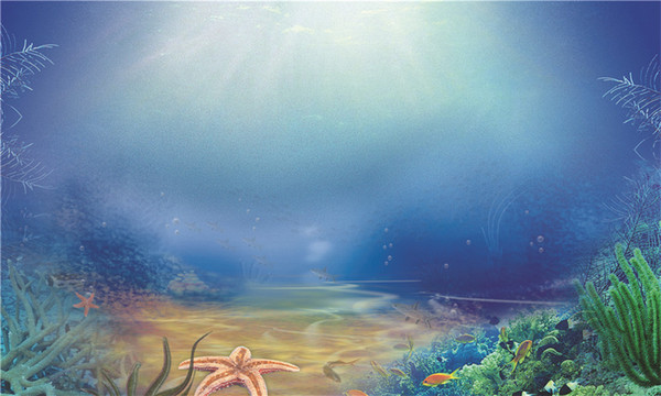 Deniz Altında Fotoğraf Arka Planında Baskılı Güneş Işığı Mavi Su Yeşil Bitkiler Balıklar Çocuklar Çocuklar için Okyanus Arka Fotoğraf Stüdyosu