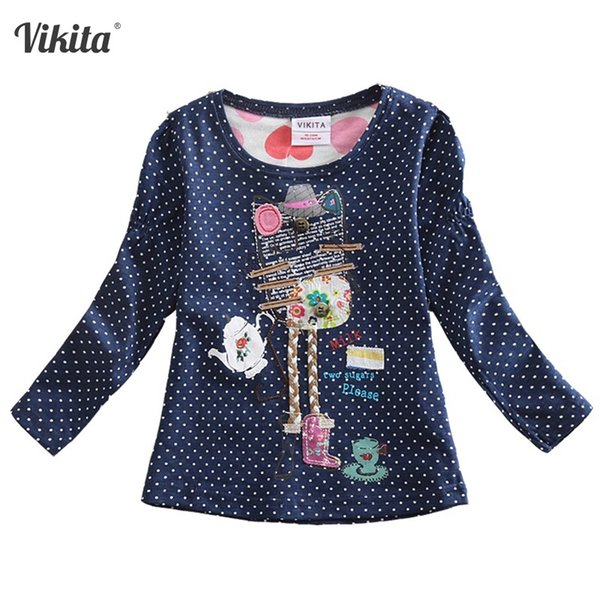 VIKITA Camisetas para niñas Camisetas para niños Camisetas para niños Camisetas de manga larga Tops Ropa para niñas 2018 Tees pequeños F2101 Mix Y1891203