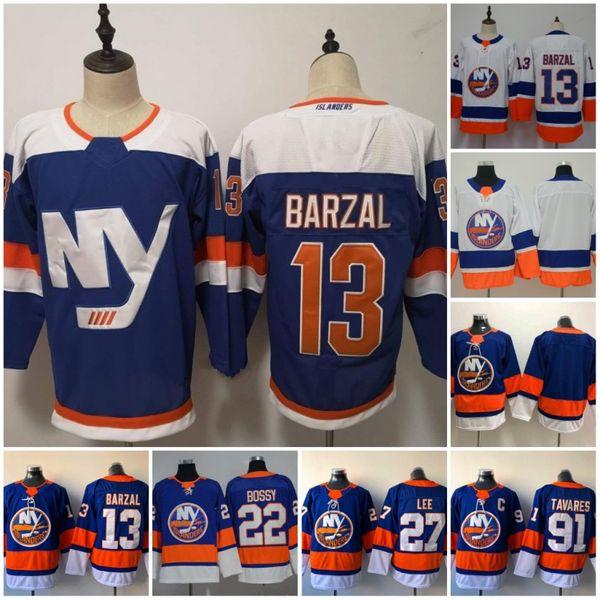 New Men 13 Mathew Barzal Trikots 2019 Dritte New York Islanders 27 Anders Lee 22 Mike Bossy 91 John Tavares Hockey-Trikots