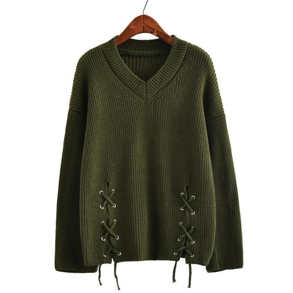 Col en v pull tricoté bureau dame manteau femmes manches longues épais lacets tricots