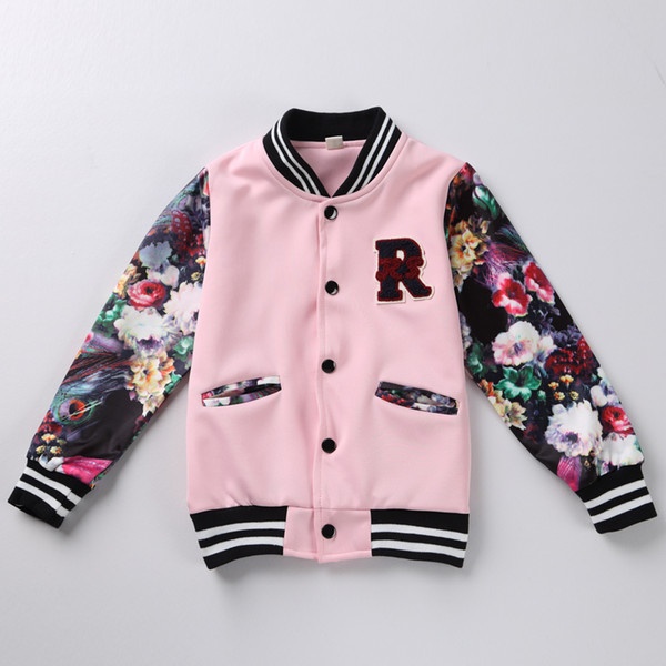 best selling Baby Baseball jacket Children Girls Clothing Tracksuit Kids girl winter Clothes Fashion spring flower jacket Sport coat 2 color