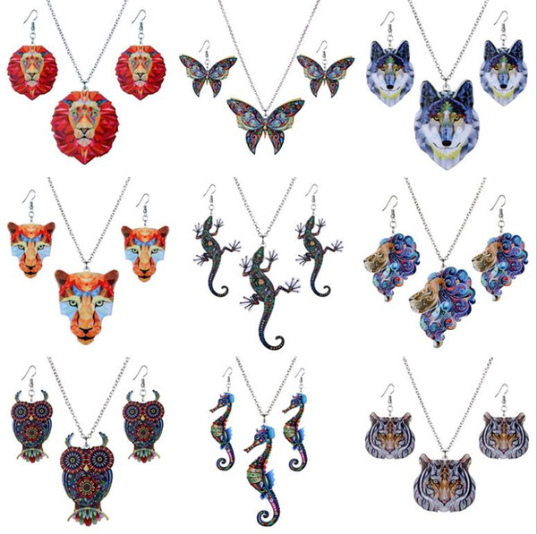 Wholesale Fashion Animal Jewelry Sets Thermal Print Fox Lion Butterfly Acrylic Earrings Necklace Set for Women