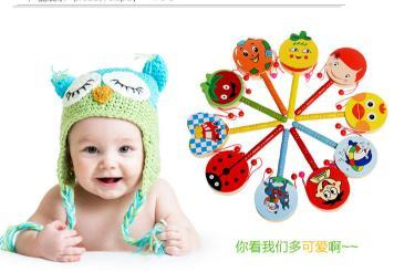 Hot Sale Drum-shaped rattle Cartoon Baby Rattle Rainbow Rattles With Bell Wooden Toys Instruments Educational Toy great gift for kids