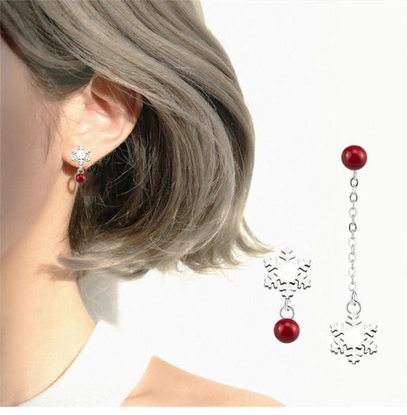Silver Color Round Red Simulated Pearl Under Snowflake Flower Long Earrings Asymmetry Chain Ear Stud Jewelry For Women Girls Christmas Gift