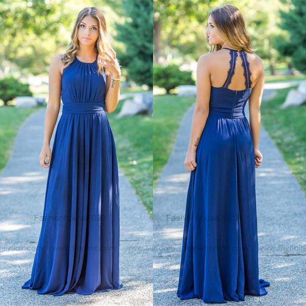 Royal Blue Chiffon Land Plus Size Brautjungfer Kleider 2019 Lange Spitze Rand Neckholder Beach Brautjungfern Kleid Hochzeit Gast Kleider