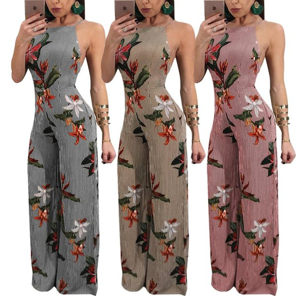 Fashion Wide Leg Jumpsuit For Woman Sexy Strappy Club Party Jumpsuits hollow chiffon sleeveless side zipper strap connecting strap trousers