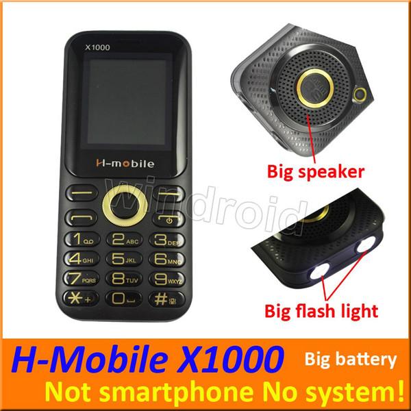 1.8 pouce H-mobile X1000 Mobile Pas téléphone intelligent Dual SIM 2G Débloqué Quad Band Caméra Big Speaker Lampe de poche whats app téléphone portable DHL