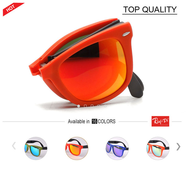New flash Folding luxury mirror Sunglasses Men Women Foldable reflective Sun glasses Female Male square Folding Glasses TR Frame with case