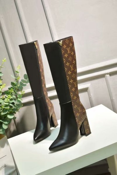shoes free shipping Decorative pattern knee Boots keep warm Spring and autumn fashion new anti-skid outdoor package mail