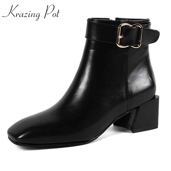 Krazing pot 2018 hot sale genuine leather square toe brand superstar women high quality metal buckle gladiator ankle boots L12