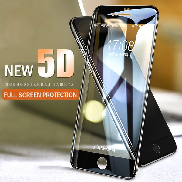 5D Verre Trempé pour iphone 7 verre 6 s plus protecteur d'écran Pour iPhone 6 7 8 8 plus X Verre Film de Couverture Complet Bord Courbé