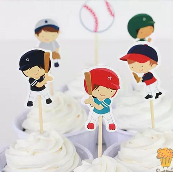 144pcs/lot Baseball Sport boys candy bar cupcake toppers pick baby shower kids birthday party supplies