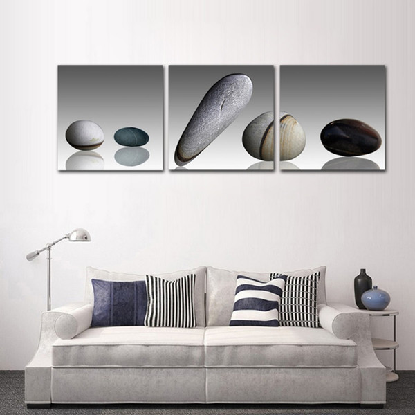 Unframed 3 panels Pebble Canvas Painting Modern Home Decoration Living Room Still Life Wall Art Poster and Prints