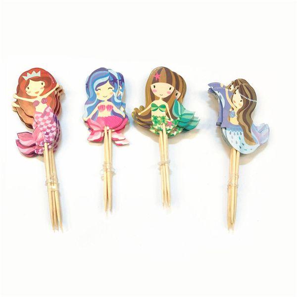 24pcs/lot Baby Shower Cake Decoration Supplies Cartoon Mermaid Cupcake Topper Wedding Toppers Picks Kid Birthday Party Decor